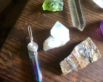 Aura Titanium Quartz Crystal Silver Pendant Necklace Rainbow Handmade