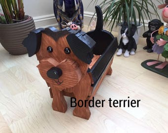 BORDER TERRIER,wooden garden planter,ornament,decoration,name tag,custom made,