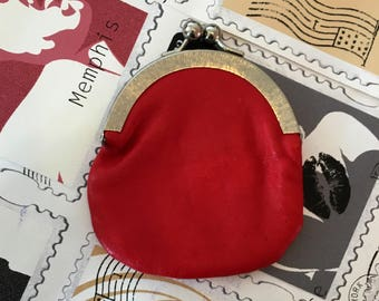 Vintage Red Coin Purse with Clasp