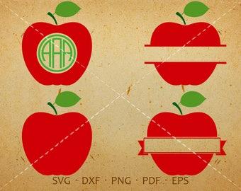 Apple SVG, Apple Monogram SVG with Circle Font, Teacher Clipart Silhouette Cricut Cut Files (svg, dxf, eps, png, pdf)