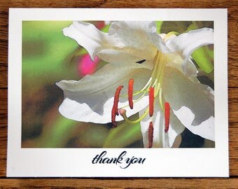 Blooming Thanks, set of 8 handmade thank you cards with envelopes