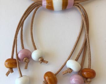 Lampwork  necklace//Summer Murano necklace//Pink, ocher and white glass necklace//Boho necklace