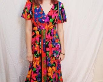 Vintage 70's Floral Maxi Dress. Aloha Print. Neon. Boho Hippie Size Small
