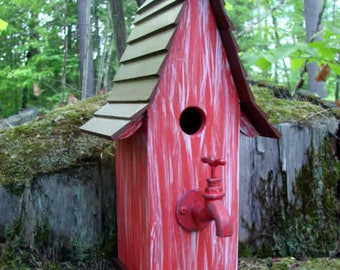 Faucet Red Bird House, Wooden birdhouse, painted birdhouse, rustic birdhouse, outdoor birdhouse