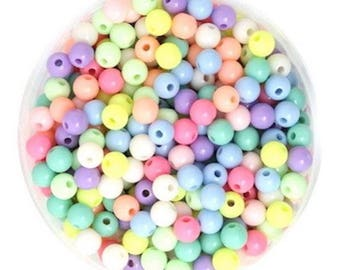 100 round beads 6 mm mixed color acrylic