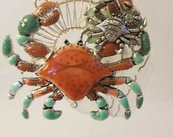 crab sea glass necklace