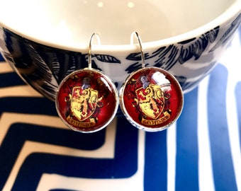Handmade Gryffindor Harry Potter glass cabochon earrings- 16mm
