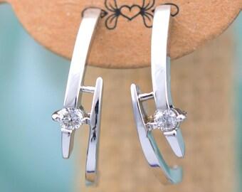 WHITE GOLD diamonds earrings,  back post diamonds earrings,gold diamonds earrings