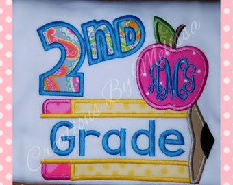 2nd Grade Appliqued Shirt/ Apple with pencil and monogram/ Monogrammed 2nd grade shirt/ Back to School Shirt