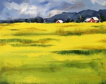 Custom original painting landscape modern contemporary urban acrylic green yellow fields canvas wall art home interior decor Shweta Patil