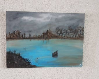 Acrylic art abstract canvas 50 x 70 cm steampunk boat steam vintage
