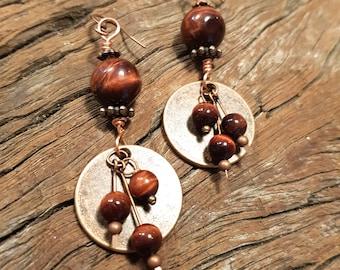Tigers eye earrings; Copper earrings; Gemstone earrings; Red tigers eye earrings; Wirework earrings; Boho earrings; Statement earrings