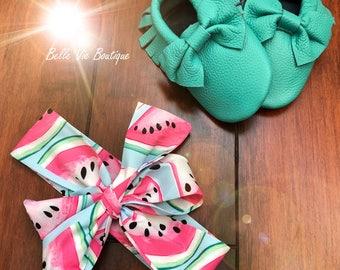 Watermelon headwraps, top knot headbands, top knot headwraps, baby headwraps, newborn headwraps
