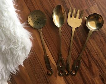 Set of Brass Kitchen Utensils