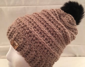 Beehive Beanie in Taupe