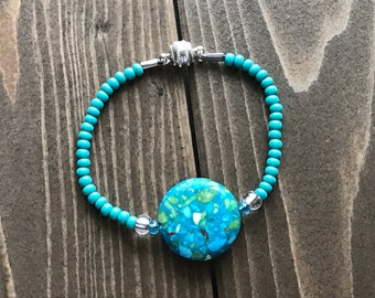 Caribbean Cutie~Handmade Beaded Bracelet~Genuine Turquoise Disc Connector~Sterling Silver Magnetic Clasp~Turquoise Seed Beads~Gift for her