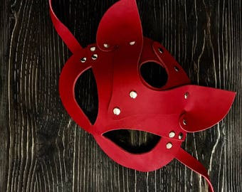 Black Catwoman Mask, Genuine Leather Mask, Handwork, Handmade Item, Halloween Mask