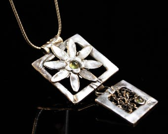 Clearance (60%) fine silver square flower pendant with peridot, gift for her, antique look, handcrafted designer pendant- 9g (BLK103)
