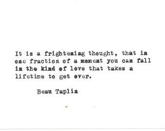 Beau Taplin Hand typed vintage typewriter quote