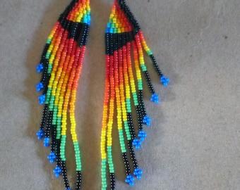 African Maasai Beaded Earrings   Orange Yellow Zulu Beaded Earrings   Dangle Earrings   Tribal Earrings   Elegant Earrings   Gift For Her