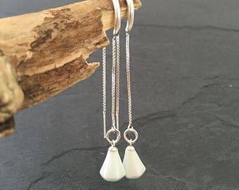 White Porcelain Threader Earrings