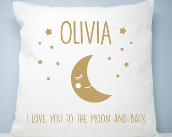 Personalised I Love You To The Moon And Back Cushion, Children's Cushions, New Born Gifts, Home & Living Gifts, Cushions and Pillows Custom