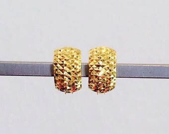 7mm Diamond cut Solid 22k gold purity huggies earrings 916 gold