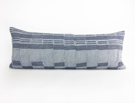 36 x 14  Dark Blue and Ivory Long Lumbar Pillow Cover - Vintage African Ewe Tribe Fabric