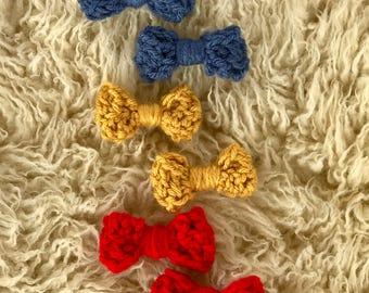 Crochet Hair Bows, Girls Hair Bows, Hair accessories, Hair Clips