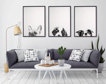 Black and white Dog wall art Set of 3 watercolor prints animal illustrations living room Kitchen home art decor PEEKABOO Giclee Prints