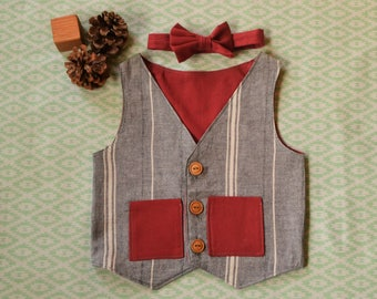 Boys Vest and Bow Tie: Grey and White Striped with Maroon-6 Months/ 12 Months/ 18 Months/ 2T/ 3T/ 4T/ 5T