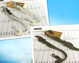 10 Pieces /Lot bright Silver & Bronze Plated 120mmx25mm Mermaid Bookmarks