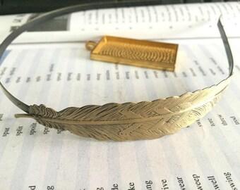 antique bronze 5mm filigree feather hair headband