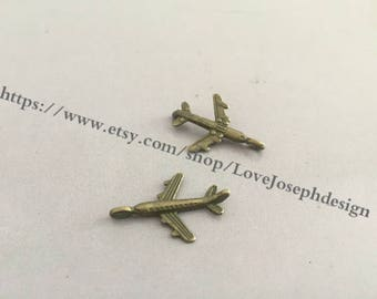 wholesale 100 Pieces /Lot Antique Bronze Plated 24mmx15mm airplane Charms (#033)