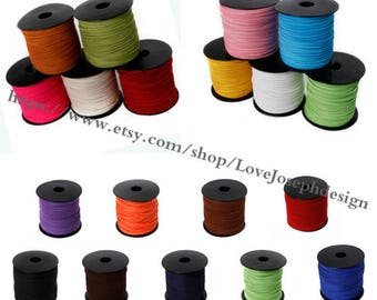 wholesale 100yards (than 100colors) 1.5mmx2.5mm flat suede leather cords