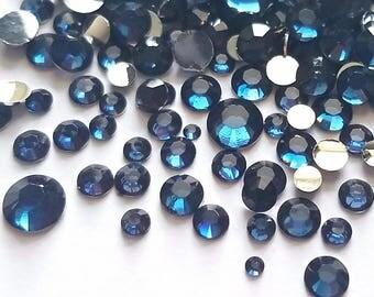 500pcs- Montana blue rhinestone flatback crystal gem mixed size 2mm - 6.5mm variety decoden phone case jewelry embellishment scrapbooking