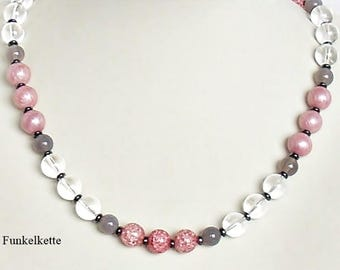 Gemstone Chain gemstone Jewelry Necklace Pink Grey white gemstone necklace glass Clear Mountain crystal matching to the Outfit Noble and quality
