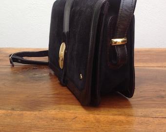 90s Vintage Bag   Shoulderbag/handbag Vintage   Suede bag   Leather bag   Black bag made of genuine leather.