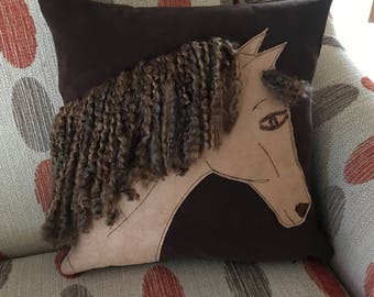 horse head pillow appliqud horse pillow textured yarn mane - Horses Head Pillow