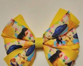 Princess Hair bow, Beauty and the Beast hair bow, Yellow hair bow, Princess hair bow, girls hair bow, fairy tale hairbow, dress up hairbow
