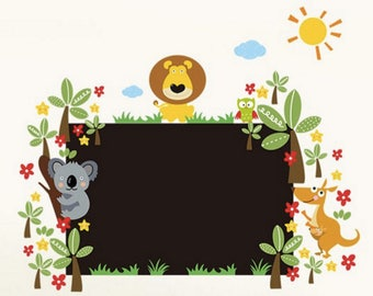 Sticker mural - Tableau noir décoré des animaux