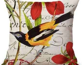 Housse de coussin Oiseau jaune et fleur rouge