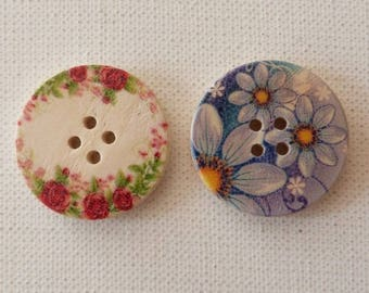 2 round wooden buttons sewing, children, scrapbooking floral 3 cm