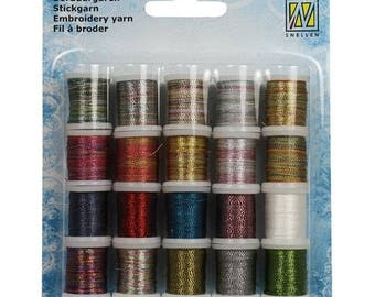 Set of 20 spools of thread to embroider cards set 002