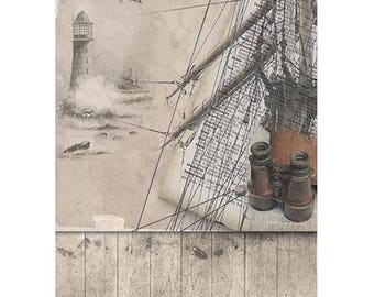 1 sheet of rice paper 21 x 28 cm decoupage collage LIGHTHOUSE SAILBOAT twin 1042