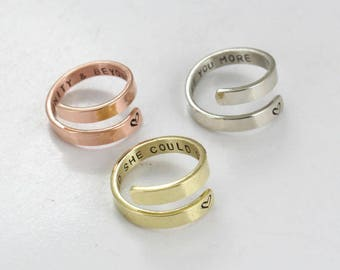 Personalized Wrap Ring - Bridesmaid Ring -Secret message - Couples Ring -Anniversary -Gold Custom Ring  - Sterling Silver / Copper / Brass