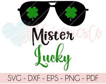 Mister Lucky svg, eps, dxf, png, cricut, cameo, scan N cut, cut file, st patricks day svg, lucky svg, shamrock svg, 1st st patricks day svg