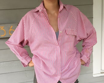 Vintage 80s Red & White Striped Batwing Button Down | S-L