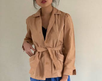 80s Cropped Puff Sleeve Belted Trench Coat Sand   XS/S