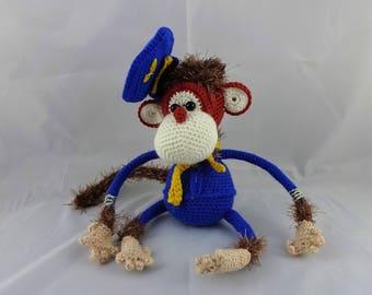 Monkey in uniform cap - amigurumi crochet plush toy